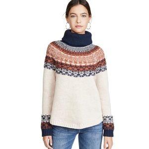NWT Madewell Brookdale Fair Isle Turtleneck Sweater
